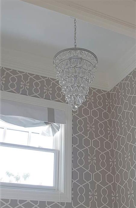 Gray trellis wallpaper transitional bathroom belmont for Gray and white wallpaper bathroom