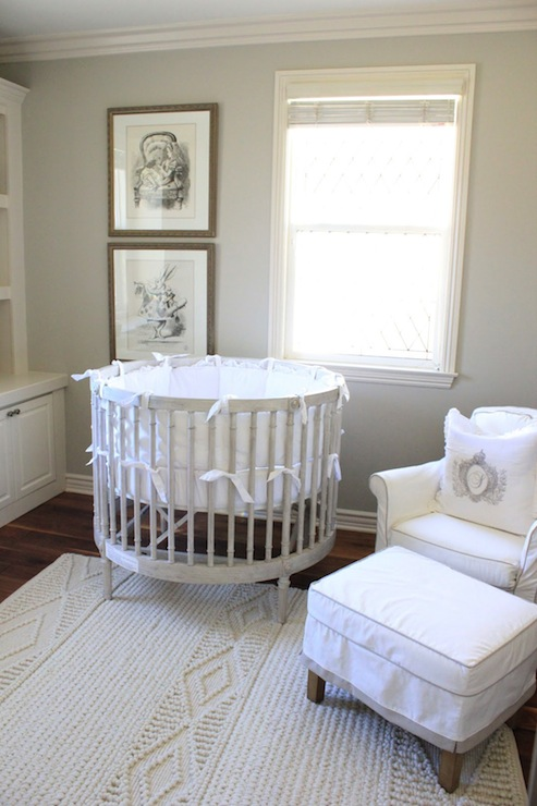 Gray Round Crib French Nursery Belmont Design Group