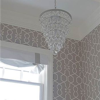 Gray Trellis Wallpaper, Transitional, bathroom, Belmont Design Group