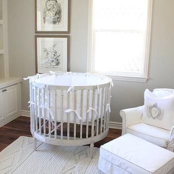 Gray Round Crib, French, nursery, Belmont Design Group