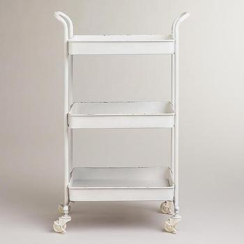 Storage Furniture - White Austin 3-Tier Metal Cart | World Market - vintage style metal cart, white vintage style cart, tiered white metal cart,