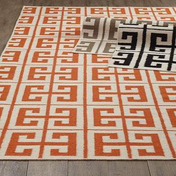 Rugs - Oran Greek Key Flatweave Rug I Horchow - greek key rug, orange greek key rug, black greek key rug, brown greek key rug,