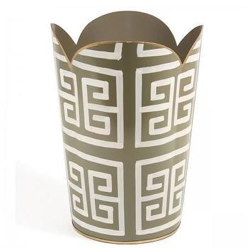 Decor/Accessories - Greek Key Wastebasket I Furbish Studio - greek key waste basket, greek key wastebasket, scalloped greek key wastebasket,