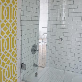 Sabbe Interior Design - bathrooms - yellow and white trellis stencil, stenciled walls, trellis stencil, yellow and white trellis stenciled walls, yellow and white stenciled walls, stenciled bathroom walls, yellow and white bathroom, glass shower door, subway tile, white subway tile, white subway tiled shower surround, contrasting grout, gray grout, Etsy trellis OMGstencils, subway tile with gray grout, Etsy Trellis OMGstencil,