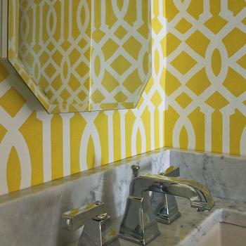 Sabbe Interior Design - bathrooms - Benjamin Moore - Sunny Afternoon - yellow and white trellis stencil, stenciled walls, trellis stencil, yellow and white trellis stenciled walls, yellow and white stenciled walls, stenciled bathroom walls, yellow and white bathroom, marble countertop, marble counters, polished chrome faucet, octagonal vanity mirror, beveled vanity mirror, octagonal beveled vanity mirror, yellow and white bathroom, Etsy trellis OMGstencils, imperial trellis stencil,