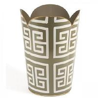 Decor/Accessories - Greek Key Wastebasket I Furbish Studio - greek key waste basket, greek key wastebasket, scalloped greek key wastebasket,