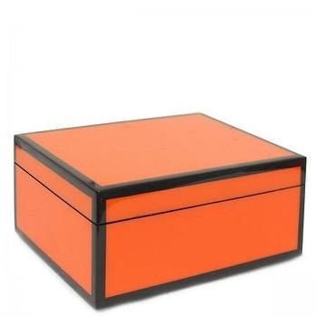 Decor/Accessories - Orange Lacquer Medium Box I Furbish Studio - orange lacquered box, orange box, orange and black lacquered box,