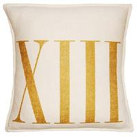 Pillows - Roman Numbers XIII Ivory & Gold by Square Feathers | BURKE DECOR - roman numeral pillow, gold and ivory roman numeral pillow, gold roman number pillow,