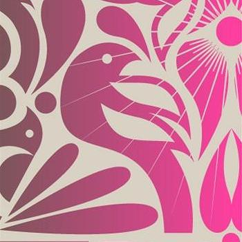 Wallpaper - Birds Wallpaper in Vintage Plum and Pink design by Kreme | BURKE DECOR - vintage style pink wallpaper, vintage plum birds wallpaper, vintage pink bird wallpaper,