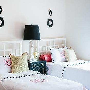 Natalie Clayman Interior Design - girl's rooms - Sherwin Williams - Azalea - Hollywood regency, horse lamp, over dyed rug, fuchsia, pink trim, French dresser, roman shade, black and white, monogram, pink window moldings, shared nightstand, monogrammed bedding, octagon mirrors, black octagon mirror,