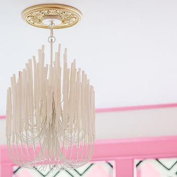 Natalie Clayman Interior Design - girl's rooms - Sherwin Williams - Azalea - Hollywood regency, pink trim, pink moldings, pink crown molding, pink window moldings, Tilda 5L Wood and Iron Chandelier, gold medallion,