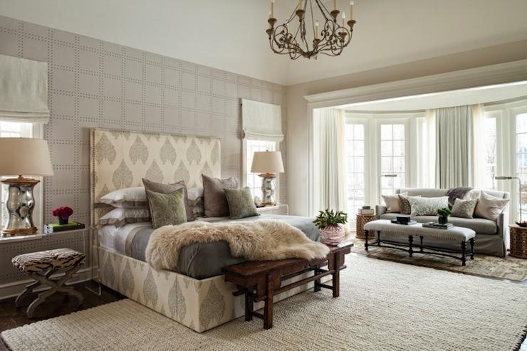 Rivets Wallpaper - Transitional - bedroom - Andrea Goldman Design