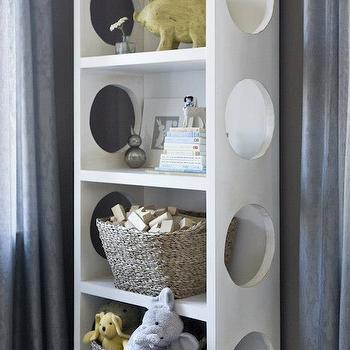 Finnian's Moon Interiors - nurseries - twin nursery, twin nursery design, dark gray walls, dark gray nursery walls, blue curtains, blue sheer curtains, modern bookcase, modern white bookcase, nursery bookcase, white nursery bookcase, woven baskets,