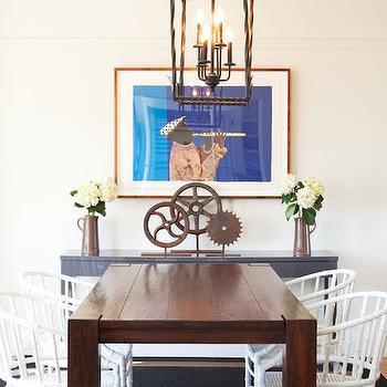 Kate Collins Interiors - dining rooms - white bamboo chair, faux bamboo chair, bamboo dining chair, white bamboo dining chair, faux bamboo dining chairs, pagoda chandelier, black pagoda chandelier, black rug, gray console table, gray lacquer table,