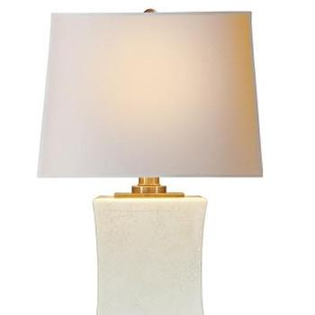 Lighting - Square Pillow Form Ceramic Lamp I High Street Market - crackle glazed porcelain lamp, crackle glazed lamp, crackle glazed porcelain lamp with brass accents,