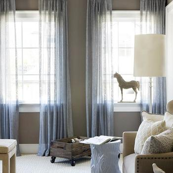 Blue Sheer Curtains, Contemporary, nursery, Finnian's Moon Interiors