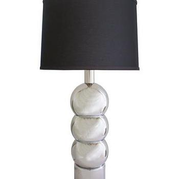 Lighting - 1960s Chrome Ball Table Lamp I High Street Market - chrome ball lamp, chrome table with black shade, chrome ball table lamp,
