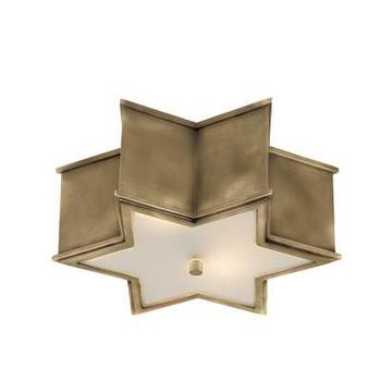 Lighting - Sophia Small Flush Mount, Natural Brass I High Street Market - brass flush mount star pendant, star shaped brass flush mount, star shaped flush mount,