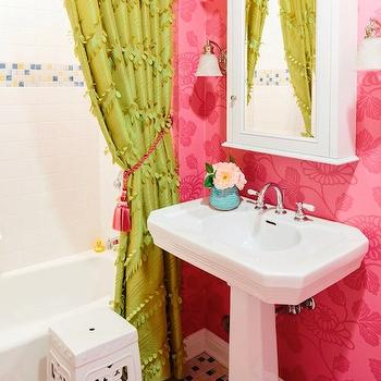 Natalie Clayman Interior Design - girl's rooms - pink girls bathroom, pink and green girls bathroom, pink wallpaper, pink floral wallpaper, medicine cabinet, white medicine cabinet, pedestals ink, ruffle shower curtain, green shower curtain, green ruffle shower curtain, ruffled shower curtain, green ruffled shower curtain, 2 shower curtains, white stool, pink zebra rug, yellow and blue tiles, yellow and blue floor,