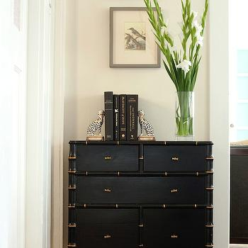 Kate Collins Interiors - entrances/foyers - hall chest, black chest, black hall chest, bamboo chest, black bamboo chest, faux bamboo chest, black faux bamboo chest, bookends, dalmatian bookends, gray frames, gray picture frames, gray gallery frames,