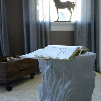 Finnian's Moon Interiors - nurseries - twin nursery, twin nursery design, faux bois stool, white faux bois stool, tree stump stool, stump stool, white stump stool, white tree stump stool, geometric rug, cream rug, cream geometric rug, gray walls, gray nursery walls, blue curtains,