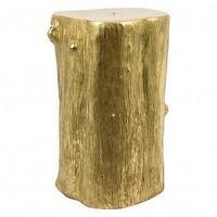 Tables - Gild Trunk Table | Jayson Home - gold trunk table, gold trunk accent table, gilded tree trunk,