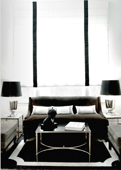 Black And White Border Rug Contemporary Living Room