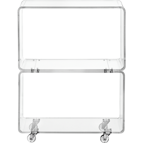 Peekaboo clear rolling two shelf cb2 - Console plexiglas transparent ...