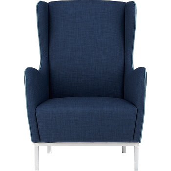 Seating - study wingback chair | CB2 - navy blue wingback chair, modern navy wingback chair, modern linen navy wing chair,