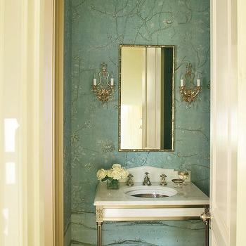 Veranda - bathrooms - powder room, powder room design, powder room wallpaper, chinoiserie wallpaper, turquoise wallpaper, turquoise chinoiserie wallpaper, turquoise chinoiserie wallpaper, wallpapered powder room, bamboo mirror, rectangular bamboo mirror, french sconces, marble washstand, greek key sink, greek key sink, metal washstand, 2 leg washstand, hardwood floors, powder room wood floors, chinoiserie powder room,