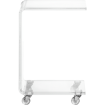 Tables - peekaboo clear c table | CB2 - acrylic side table, acrylic side table on casters, c-shaped acrylic side table,