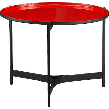 Tables - butler red side table | CB2 - red and black side table, modern red and black side table, black based red enamel topped side table,