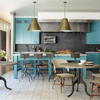 Turquoise Cabinets, Contemporary, kitchen, Elle Decor