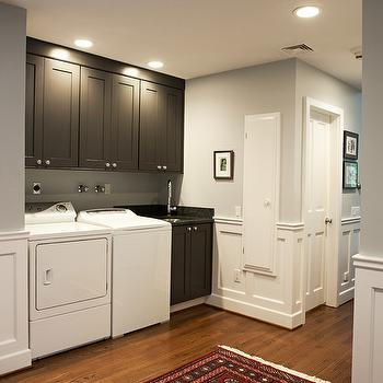 Gray Laundry Room Cabinets, Traditional, laundry room, Benjamin Moore Pike's Peak Gray, Debra Kling Colour Consultant