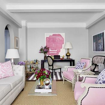 Pink and Gray Living Room, Contemporary, living room, House Beautiful