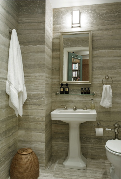 Breathtaking Powder Room With Striated Marble Walls And Floors