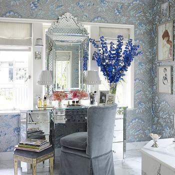 Mirrored Make-Up Vanity, Traditional, bathroom, Miles Redd