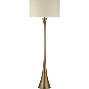 Lighting - Melrose Floor Lamp | Crate and Barrel - brass floor lamp, modern brass floor lamp, mid-century style brass floor lamp,