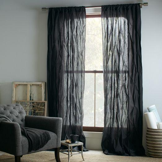 Pintuck curtain slate west elm - Epic window treatment decoration with slate blue curtain ...