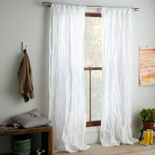 Pintuck Curtain - White - west elm