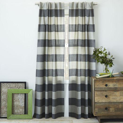 cotton canvas bold stripe curtain slate west elm