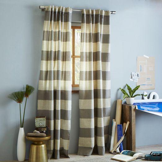 Cotton Canvas Bold Stripe Curtain Plaster - west elm