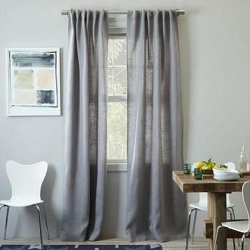 Window Treatments - Burlap Curtain - Platinum | west elm - gray burlap curtains, gray burlap drapes, platinum burlap curtains,