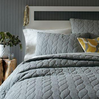 Bedding - Braided Quilt + Shams | west elm - gray bedding, gray quilt, gray cotton quilt,