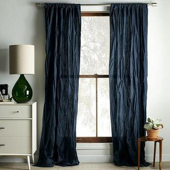 Window Treatments - Pintuck Curtain - Regal Blue | west elm - dark blue pintuck drapes, dark blue pintuck curtains, pintuck curtains,