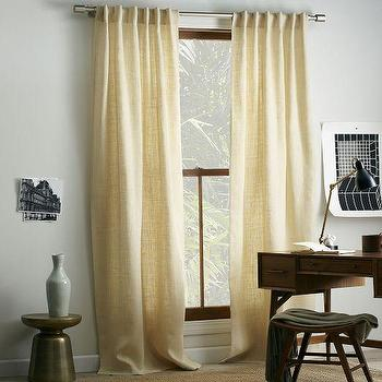 Window Treatments - Burlap Curtain - Ivory | west elm - ivory burlap drapes, ivory burlap curtains, ivory burlap draperies,