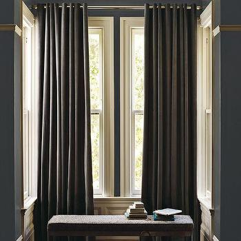 Window Treatments - Velvet Grommet Curtain Iron | west elm - velvet grommet curtains, dark gray velvet curtains, dark gray velvet grommet curtains,