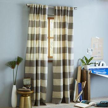 Window Treatments - Cotton Canvas Bold Stripe Curtain Plaster | west elm - gray and ivory striped curtains, gray and ivory striped drapes, gray striped curtains,