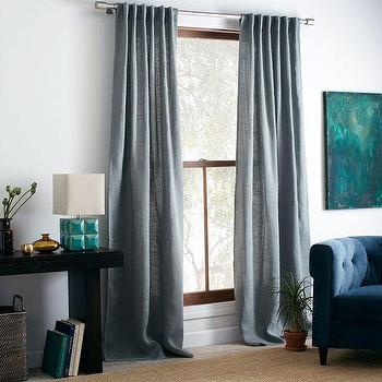 Window Treatments - Burlap Curtain - Blue Sage | west elm - blue burlap curtains, blue burlap drapes, blue sage burlap curtains,