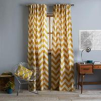 Window Treatments - Cotton Canvas Zigzag Curtain Maize | west elm - chevron drapes, chevron curtains, yellow and ivory chevron curtains, zigzag curtains,